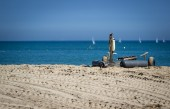 Boat trailer on the beach — Stock Photo