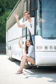 Cute young loving couple begins their journey — Stock Photo