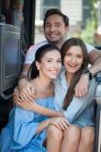 Pretty young friends are enjoying their trip — Stock Photo