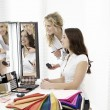 Girls themselves make-up — Stock Photo #62182241