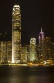 Hong Kong Victoria Harbour The Pearl of the Orient A Symphony of Lights Panoramic Night View Skyline — Stock Photo