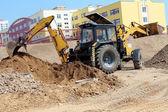 Construction. Excavatrice de travail — Photo