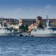 Постер, плакат: Corvettes Persistent and keepers on the Neva river in St Petersburg