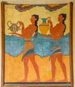 Ruins Knossos Palace, murals, artifacts. — Stock Photo