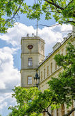 The clock tower of the old Palace in Gatchina Park on a background of blue sky and clouds — Stock Photo
