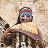 Andean Indian Playing Regional Music — Stock Photo