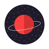 Saturn red planet — Stock Vector