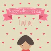 Valentine's day card with girl — Vetor de Stock