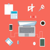 Creative office workspace — Stock Vector