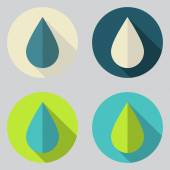 Water Drops Icons Set — Stock Vector