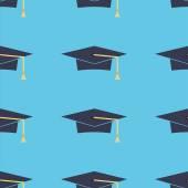 Graduation caps seamless pattern. — Stock Vector