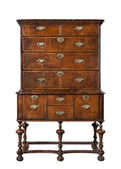Old antique European dresser or chest of drawers isolated on whit — Stock Photo