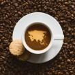 Still life - coffee with map of Asia continent — Stock Photo #77072141