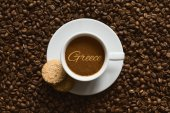 Still life - coffee wtih text Greece — Stock Photo