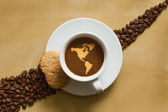 Still life - coffee with map of America continent — Stock Photo