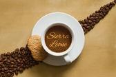 Stilleben - Kaffee mit Text Sierra Leone — Stockfoto