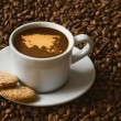 Still life - coffee with map of Asia continent — Stock Photo #78355294