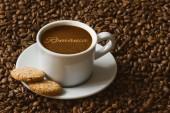 Stilleben - Kaffee mit Text Rumänien — Stockfoto