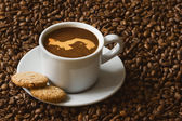Still life - coffee with map of Panama — Stock Photo