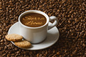 Still life - coffee with text Sierra Leone — Stock Photo