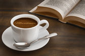 Still life - coffee with text Macedonia — Stock Photo