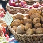 Fresh organic Yukon gold potatoes and onions at farmer's market — Stock Photo #73165297
