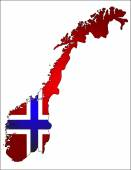 Norway flag in shape of the state — Stock Vector