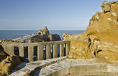 Eiffel footbridge and Virgin on the Rock of Biarritz  — Stock Photo