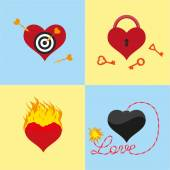Four heart — Stock Vector