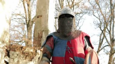 Knight with sword — Stock Video