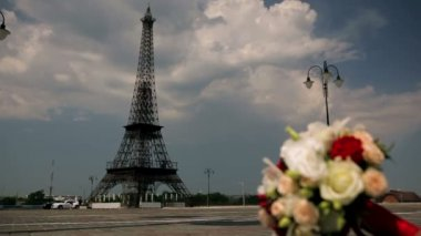 Eiffel tower and flowers — ストックビデオ