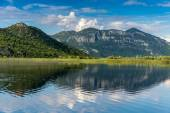 View from the Skadar Lake Mountain with reflection — Stock Photo