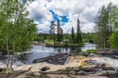 Waterfall Ruskeala top view. — Stock Photo