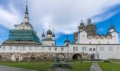 View of the gallery and the church of the Solovetsky monastery. — Stock Photo