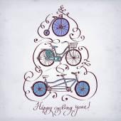 Doodle vintage bicycle set — 图库矢量图片