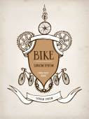 Vintage bicycle frame — Stock Vector