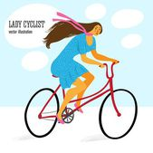 Cute lady cyclist — Stok Vektör