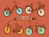 Doodle kleurrijke fiets set — Stockvector