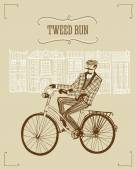 Retro cyclist illustration — Stockvektor
