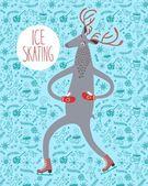Cute deer ice skater — Stock Vector