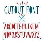 Papercut vector font — Stock Vector