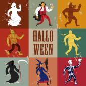 Cartoon halloween characters. — Stock Vector