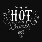 Caligrafia de bebidas quentes — Vetor de Stock