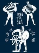 Cartoon sailors set — Stock Vector