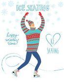 Cartoon ice skater  illustration — Stock Vector