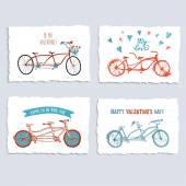 Tandem bicycle postcards set — Stock Vector