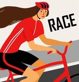 Racing lady cyclist poster — Stock Vector