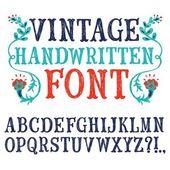 Vintage hand written vector font — Stock Vector