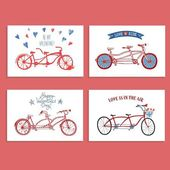 Tandem bicycle postcards set about love — Stock Vector