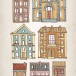 Set of old hand drawn old houses — Stock Vector #66021037